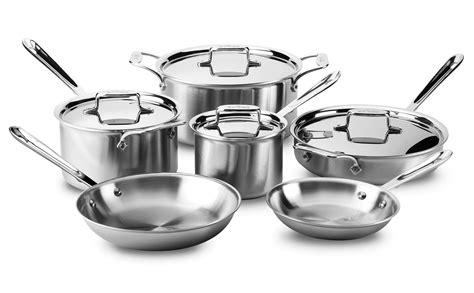 clad  cookware set brushed stainless  piece cutlery