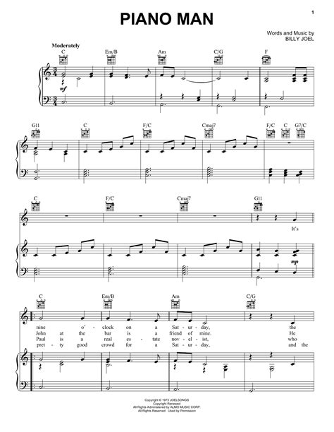 It is used globally notably in blues, american folk music, classical music, jazz, country, and rock and roll. Piano Man Sheet Music   Billy Joel   Piano, Vocal & Guitar (Right-Hand Melody)