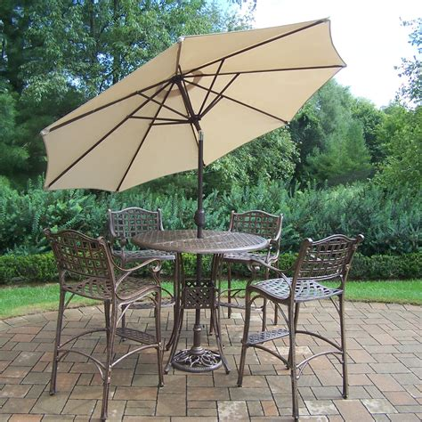 oakland living elite cast aluminum  piece patio bar set