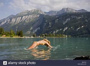 Girl Swimming In Brienzers Lake Brienz Switzerland Stock ...