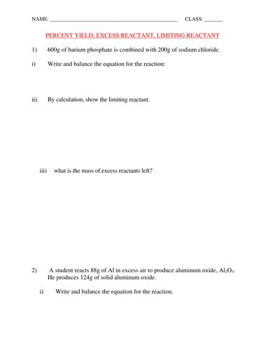 Percent Yield And Limiting Reactant Worksheet With Answers By Kunletosin246  Teaching Resources