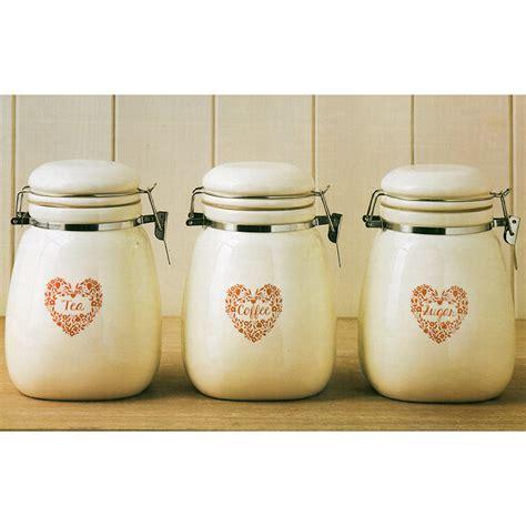 kitchen storage jar sets vintage retro tea coffee sugar clip lock ceramic 6180