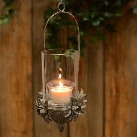 hanging tin flower candle holder kq