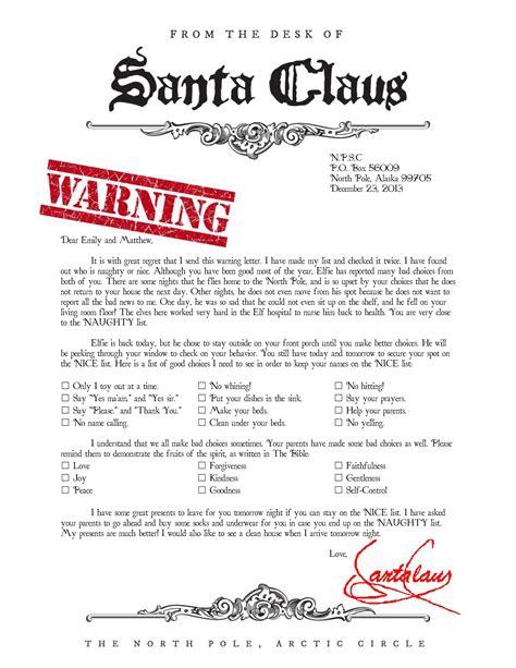 warning letter  santa naught list christmas