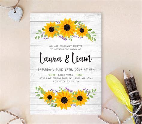 rustic wreath wedding invitations sunflower wedding