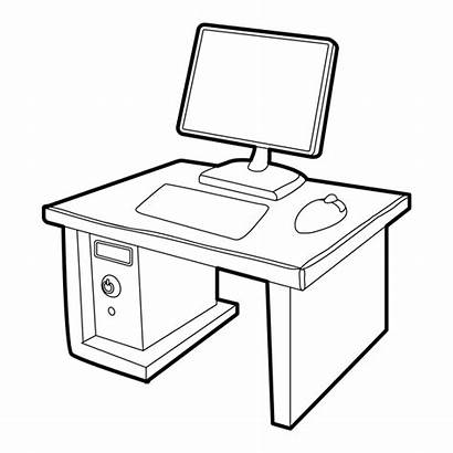 Computer 3d Desktop Drawing Icon Desk Isometric
