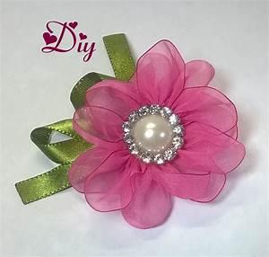 Flor de fita de voal Ribbon flower Diy Fita de cetim