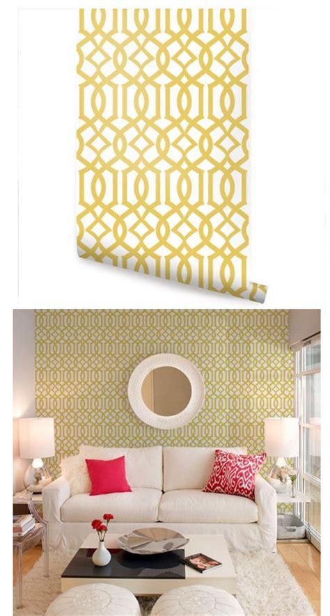 modern trellis yellow peel  stick wallpaper