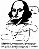 Shakespeare William Coloring Pages Crayola Midsummer Dream Hamlet Avon Author Famous Night Colored Print Shakespear Quotes Plays Poets Crayon Born sketch template