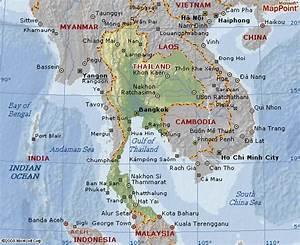 Mapa geográfico da Tailândia