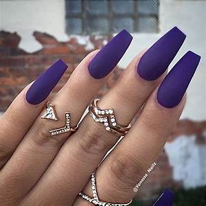 Purple Matte Coffin Nails | Nails | Pinterest | Coffin ...