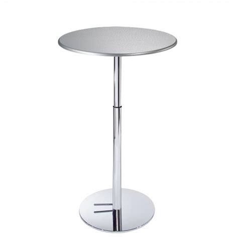 silver table l base silver textured bar table with hydraulic chrome base