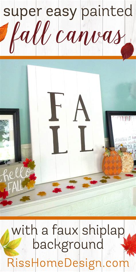 painted fall canvas with faux shiplap background