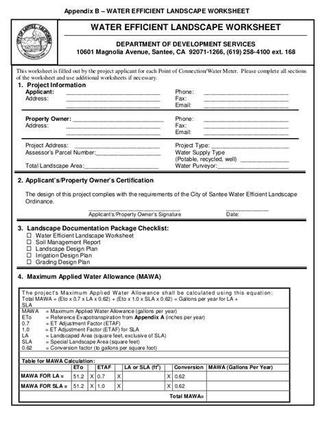 Water Efficiency Certificate Template Guidelines For Santee Water Efficient Landscape