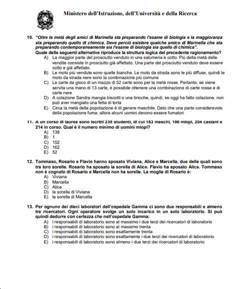 Test D Ingresso Medicina Simulazione by Simulazione Test Medicina 60 Domande Studentville