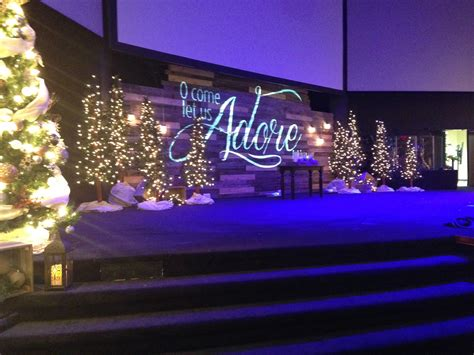 christmas stage decorations pallet projection church stage design ideas