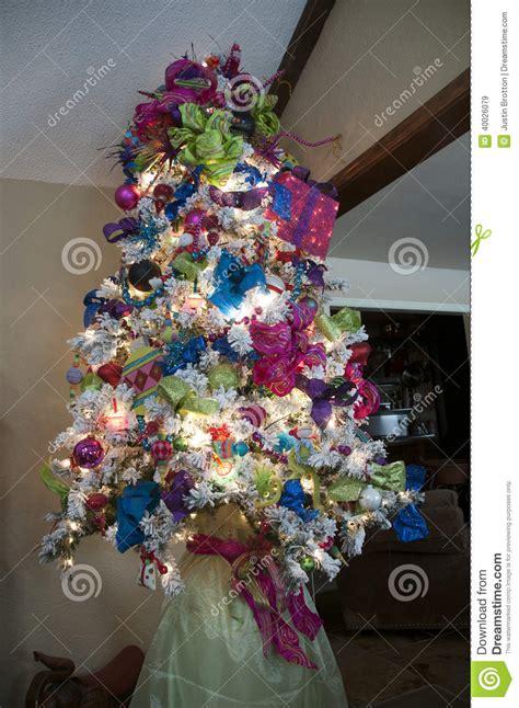 white christmas tree stock image image  white blue