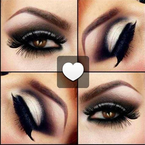 dark sexy smokey eye  brown eyes black gray