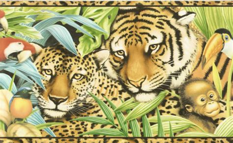 Jungle Safari Leopard Animal Print Wallpaper Border - jungle leopard panda wallpaper border wall ebay