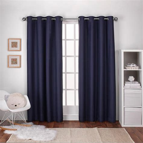 Blue Draperies - textured linen navy blue thermal grommet top window