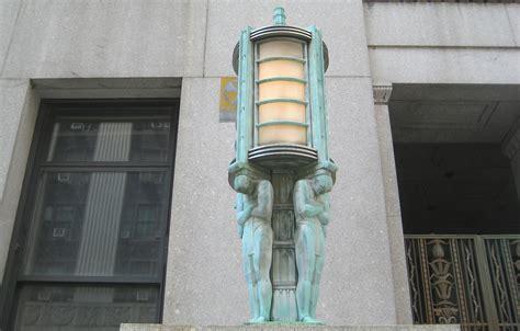 art deco l post art deco lanterns on a centre street building ephemeral