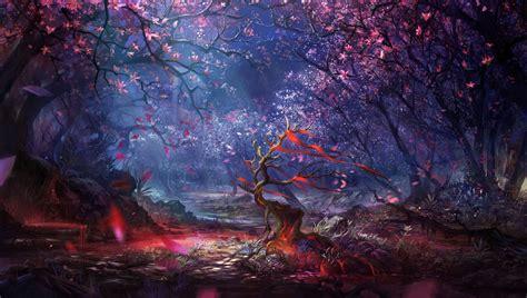 Anime Digital Wallpaper - digital forest trees colorful artwork