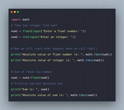 Python Math Example Functions Method Fabs