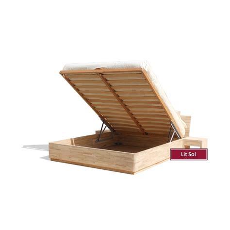 rangements cuisine lit sol avec coffre de rangement en bois de hêtre massif