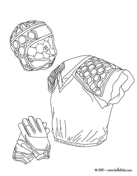 Rugby Kleurplaat by Rugby Helmet Gloves And Armour Coloring Pages