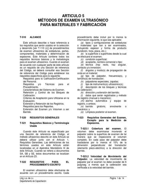 Asme V Art. 5 Métodos de Examen Ultrasónico.pdf