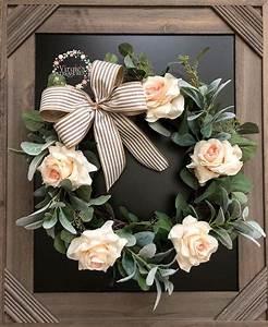 Seeded, Eucalyptus, U0026, Lamb, Ears, Wreath, With, Blush, Roses, Farmhouse, Wreath, Front, Door, Wreath