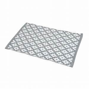Tapis Blanc Et Gris : tapis de bain ponge imprim losanges blanc et gris ~ Melissatoandfro.com Idées de Décoration