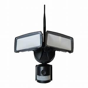 18w Led Floodlight With Wifi Sensor Camera 6000k Black