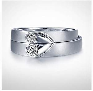 unique heart shape couples matching wedding band rings on With wedding rings heart