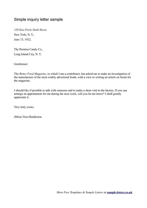 business letter  inquiry sample  letter sample