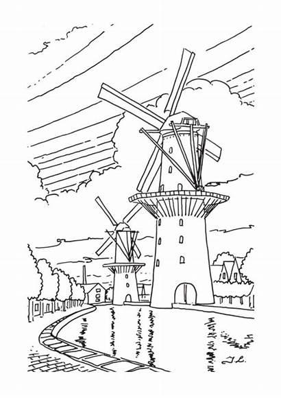 Windmill Coloring Windmolens Kleurplaat Windmills Farm Pages