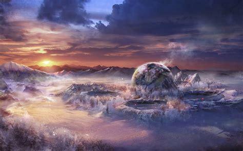 art, Snow, Sunset, Mountains, Fantasy, World, Landscape ...