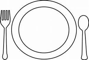 Black and White Dinner Plate and Utensils Clip Art - Black ...