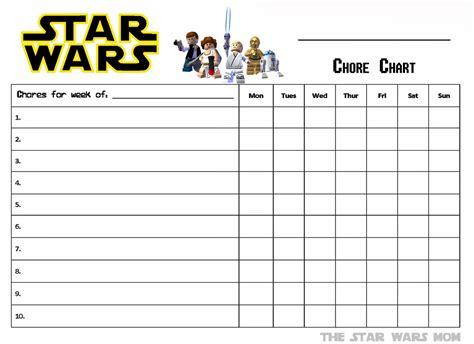 lego star wars  printable chores chart  star wars mom culinary artist