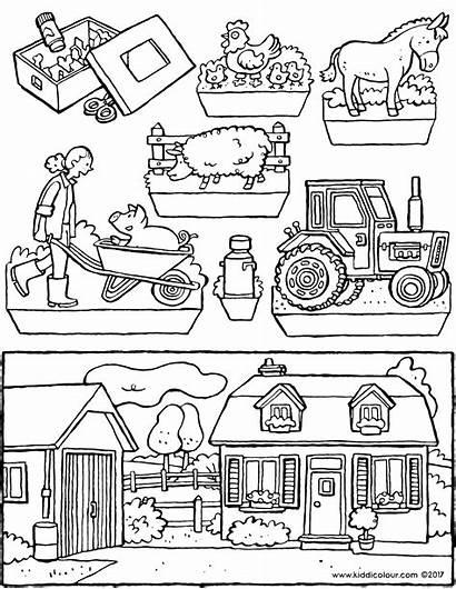 Kijkdoos Boerderij Bauernhof Ausmalbilder Farm Kleurplaat Diorama