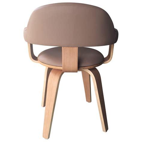 chaise su 233 doise pivotante simili cuir beige et bois