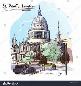 View St Pauls Cathedral London Watercolor Stock Vector ...