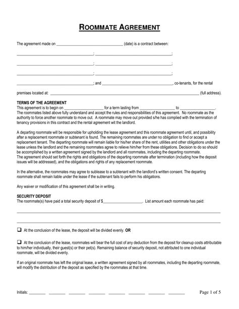 connecticut roommate room rental agreement form