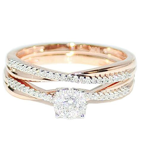 wedding ring sets with rose gold 1 4cttw diamond bridal 10k rose gold engagement ring and band ebay
