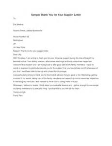 Thank You for Your Support Letter Sample