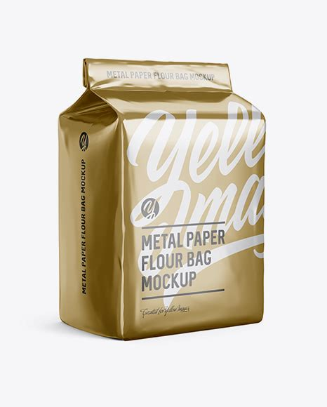 Ready to use in your projects, app and showcases. Metallic Paper Flour Bag Mockup - Halfside View (Eye-Level ...