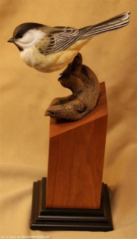chickadee wood carving art bird carving wood carving