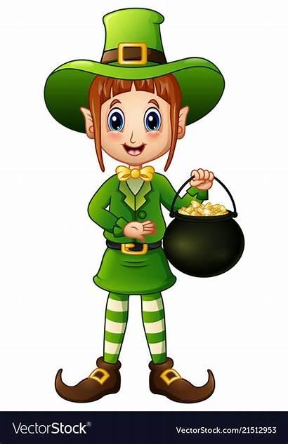 Leprechaun Clipart Cartoon Female Holding Gold Pot