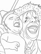 Coloring Pages Creepy Clown Adults Adult Clowns Printable Drawing Scary Creapy Halloween Face Sheet Circus Books Drawings Posse Insane Sheets sketch template