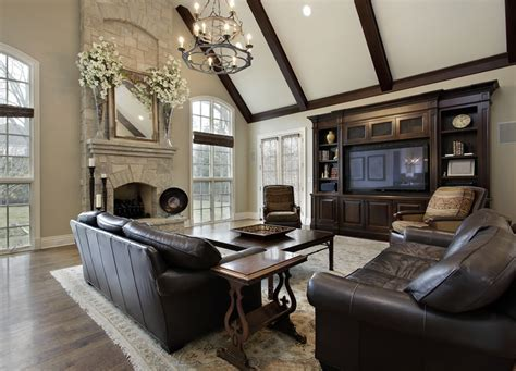 Family Room Color Scheme Ideas With Black Leather Couches